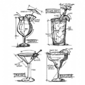 Stampers Anonymous/Tim Holtz - Cling Mount Stamp Set - Cocktails Blueprints - CMS335